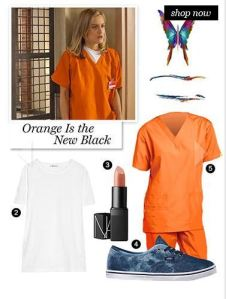 OINB lady 1: Orange scrubs 2: name badge If you are going as a specific character I would add something to identify them. For Example, Red would have a ladel, Piper a fake Chicken, Crazy eyes a screw driver