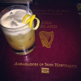 The delicious Amaretto Sour, and a sneaky peak at the amazing Passport Menu